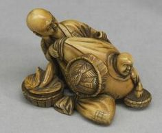 Ivory Netsuke, 19th century, figure of a vendor with a man emerging from a large bag.