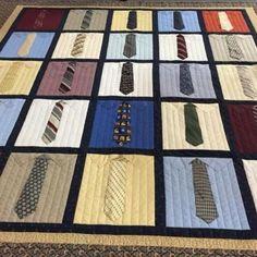 Handmade NECKTIE quilt memorial quilt shirt and tie quilts Creeper Minecraft, Necktie Quilt, Shirt Quilts, Denim Quilts, Quilting Projects, Sewing Projects, Grieving Gifts, Mens Shirt And Tie, Derby