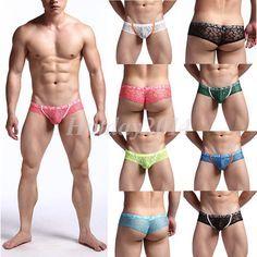 ffa28f8262  2.84 - Men s Comfy Pouch Brief Underwear Soft Jacquard Lace Floral Thong  Pants Briefs  ebay