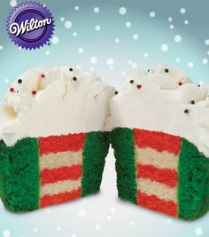 Who doesn't love a cupcake?! These two tone cupcakes from @Wilton Cake Decorating look amazing! #wiltoncookieelf