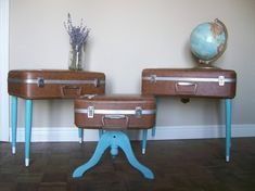 6 More Ways to Repurposed Vintage Suitcases / Poetic Home on imgfave Repurposed Items, Repurposed Furniture, Upcycled Vintage, Funky Home Decor, Diy Home Decor, Furniture Makeover, Diy Furniture, Furniture Storage, Modern Furniture