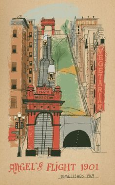Illustration of Angel's Flight, the funicular railway in downtown Los Angeles, illustration by Paul Rogers.