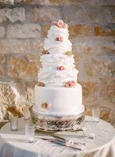 Wedding Cake with Ruffle Icing | photography by http://ktmerry.com/