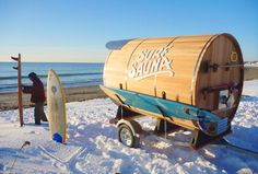 The Surf Sauna was created with cold water surfers in mind. The elegant solution is a warm retreat for surfers who brave cold waters. Every Surf Sauna is built to your specifications in Portsmouth, New Hampshire, and is fully customizable, you can ch Saunas, Portsmouth, Sauna Portable, Diy Sauna, Sauna House, Mobile Sauna, Sauna Wellness, Water Surfing, Surfing