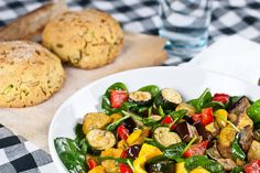 Roast Vegetable Salad & Zucchini Cornbread – a gluten-free & low FODMAP recipe - Top Trends Super Healthy Recipes, Healthy Foods To Eat, Real Food Recipes, Diet Recipes, Cooking Recipes, Bread Recipes, Roasted Vegetable Salad, Roasted Vegetables, Veggies