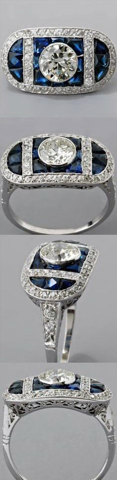 Art Deco Ring Setting This Art Deco style ring setting (shown mounted with a bezel-set 0.80ct transitional round brilliant-cut diamond) weighs 5.1g and measures 11.5mm wide and 5.5mm deep.