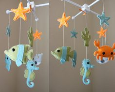 "Baby Mobile - Baby Crib Mobile - Ocean Sea Mobile - Nursery Crib Mobile - crab, octopus ""Ocean Sea Creatures"" (You Can Pick Your Colors). $80.00, via Etsy."