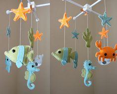 "Baby Mobile - Baby Crib Mobile - Ocean Sea Mobile - Nursery Crib Mobile - crab, octopus ""Ocean Sea Creatures"" (You Can Pick Your Colors). $80.00, via Etsy."