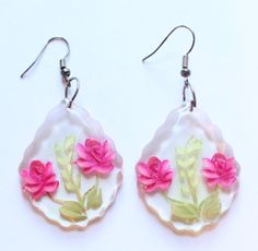 Vintage Lucite Reverse Cameo Flower Dangle or Drop Earrings by paststore on Etsy
