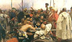 I Cosacchi dello Zaporož'e scrivono un manifesto al Sultano di Turchia di Ilya Repin