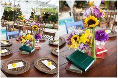 Decoração de mesa com livros