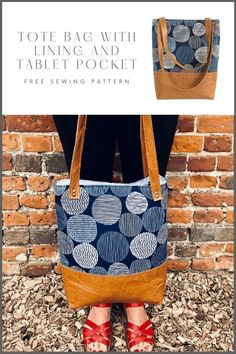 Tote Bag with lining and tablet pocket FREE sewing pattern (with video). This tote bag pattern is fully lined and features two slip pockets plus a padded pocket designed for a tablet. This is a very easy free tote bag sewing tutorial that doesn't even need a pattern. Cut your fabric in the sizes given and follow the easy video tutorial for how to sew this simple tote bag. SewModerBags Bag Patterns To Sew, Sewing Patterns Free, Free Sewing, Sewing Tutorials, Handbag Patterns, Video Tutorials, Diy Bags Purses, Purses And Handbags, Diy Tote Bag