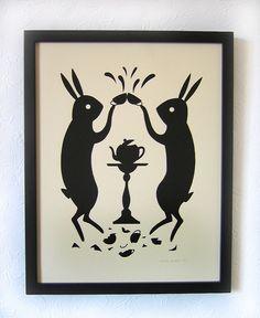 illustration, animal, design, pattern, illustration, animal, rabbit, black & white. tea bunnies