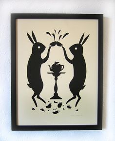 illustration, animal, design, pattern, illustration, animal, rabbit, black & white. tea bunnies