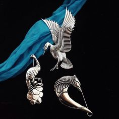Silver Birds....flying Goose, Peacock and a beatiful mitological bird....