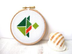 Tropical fish hoop art cross stitch by FishesMakeWishesHome