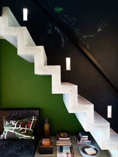 Concrete stairs by sleeping loft