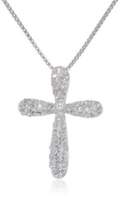 """Sterling Silver White Cross with Swarovski Elements Pendant Necklace, 18"""" buy at mariescrystals.com"""