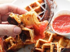 Crisp, Flaky, Pepperoni Pizza Puff Pastry Waffles | Serious Eats : Recipes - great way to do pizza for one withg a different crust!