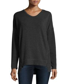 Ribbed V-Neck Side-Zip Tee, Heather Charcoal Gray  by Neiman Marcus Active at Neiman Marcus Last Call.