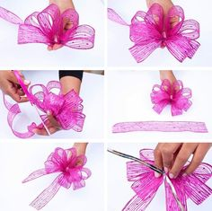 Best 12 Add Sparkle to the Christmas gifts this year with these upbeat Christmas gift wrapping ideas. Use photo tags, pinecones, pompoms, etc. as gift wrap toppers. Diy Bow, Diy Ribbon, Ribbon Bows, Ribbons, Gift Wrapping Bows, Gift Bows, Wrapping Ideas, Hair Bow Tutorial, Flower Tutorial