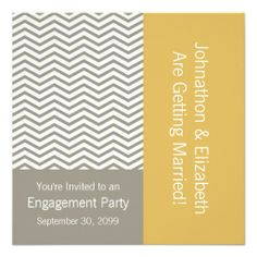 A modern and stylish stainless steel aluminum colored gray and white chevron pattern wedding engagement party invitation with misted yellow and stainless steel color block color scheme. Personalize this preppy and chic zigzag party invite in line with popular muted toned color trends by adding the name of the bride and groom to be and party details.