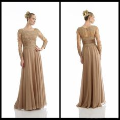Cheap dress make your own, Buy Quality gown evening dress directly from China dress bust Suppliers: A-Line Long Sleeve Chiffon Gold Lace Mother Of The Bride Dresses Elegant Party Evening Dresses Party Gowns 2014 We