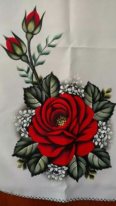 The image may contain: plant and flower - Painting Tole Painting, Fabric Painting, Fabric Paint Shirt, Painting Patterns, Pinterest Pinturas, Fabric Paint Designs, Hand Painted Fabric, Hand Embroidery Designs, Flower Embroidery