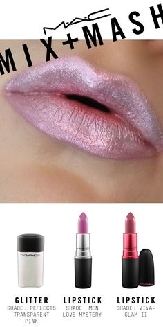 Created using VIVA GLAM Lipstick II as a base, mixed with Lipstick in Men Love Mystery, mashed with Glitter in Reflects Transparent Pink, and topped with #VIVAGLAM Ariana Grande Lipglass