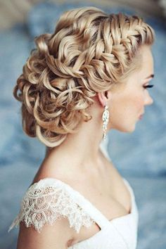 Braids and curls makes a stunning bridal upstyle!