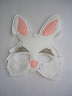 Children's White RABBIT Felt Mask
