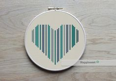 geometric modern cross stitch pattern heart set of 3 by Happinesst
