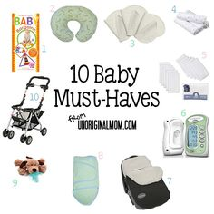 A great annotated list of 10 baby products that you may not have thought of.  Perfect for first-time moms or baby shower gifts!