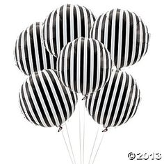 Black Striped Mylar Balloons