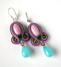 Small soutache earrings Colorful Soutache Earrings Folk