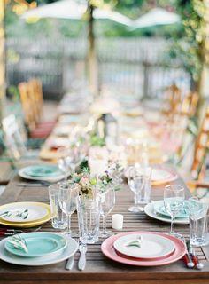 #vintage, #tablescapes, #al-fresco, #plates, #pastels, #colorful  Photography + Floral Design: Jen Huang - jenhuangphoto.com Styling: Jen Huang Workshops - jenhuangworkshops.com Floral Design: Summer Watkins - summerwatkins.com  View entire slideshow: Pretty Pastel Wedding Details  on http://www.stylemepretty.com/collection/232/