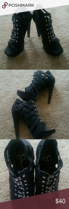 Jessica Simpson strap heels Spandex straps with clasps up the front, gently worn Jessica Simpson Shoes Heels