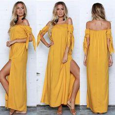 Off Shoulder Side Split Maxi Dress herhershoes Maxi Shirt Dress, Tie Dress, Floor Length Dresses, Stunning Dresses, Summer Dresses For Women, Striped Dress, Yellow Dress, Maternity Fashion, Side Split