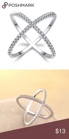 X-Ring Looks so pretty on! Small but noticeable rhinestones on top. X shape. So beautiful! youshouldbefashioned Jewelry Rings