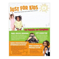 """8 ½"""" x 11"""", 50 sheets, 2-sided Encourage your preschooler to move and play with the Make Time for Play Preschool Physical Activity Handouts. The handout gives parents and caregivers guidance on the amount of physical activity young children need, as well as the types of activities that count–a combination of everyday movements, free play activities, and structured activities. The backside of the handout gives parents and caregivers advice on how to model healthy behaviors, how to choose developm Physical Activities For Preschoolers, Pictures To Draw, Caregiver, Young Children, Make Time, Healthy Kids, Behavior, Physics, Count"""