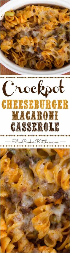 This cheeseburger macaroni casserole is a deliciously easy crock pot comfort food :) | SlowCookerKitchen.com