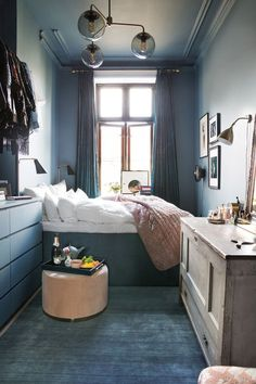 Bedroom Ideas for Small Rooms Cozy Blue. Fresh Bedroom Ideas for Small Rooms Cozy Blue. 46 the Do This Get that Guide Dark Accent Wall Bedroom Cozy Bedroom, Tiny Bedroom Design, Bedroom Decor, Small Room Bedroom, Bedroom Interior, Home, Home Bedroom, Blue Bedroom, Small Apartments