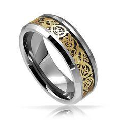 Tungsteno anillo de bodas celta dragón de oro de por PCHJewelers