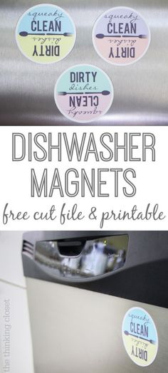 Now, I will never mix up the clean and dirty dishes again! This tutorial includes both a Silhouette cut file and a FREE printable for those who want to cut out the magnets the old-fashioned way: with scissors! These would make great shower, housewarming, or hostess gifts!