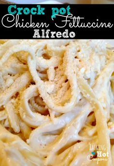 CROCKPOT CHICKEN ALFREDO 2 Chicken Breasts (boneless and skinless) 2 - 8 oz. Packages of Cream Cheese 1 Pouch of Italian Dressing Mix 2 - 10 oz Cans Cream of Chicken Soup 2 Packages of Fettuccine Noodles Parmesan Cheese (optional) Slow Cooker Recipes, Crockpot Recipes, Cooking Recipes, Healthy Recipes, Atkins Recipes, Cooking Time, Cooking Bread, Cooking Classes, Healthy Foods