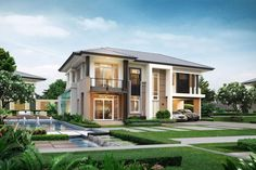House Outer Design, House Front Design, Modern House Design, Dream House Exterior, Dream House Plans, Modern Architecture House, Architecture Design, Double Story House, Modern Properties