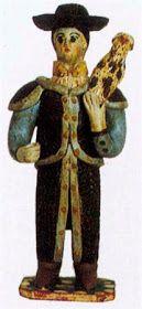 Pastor de manta ao ombro, com tarro e cajado (15,8 x 6,5 cm). Autor desconhecido (séc. XX). Museu Nacional de Etnologia, Lisboa. ...