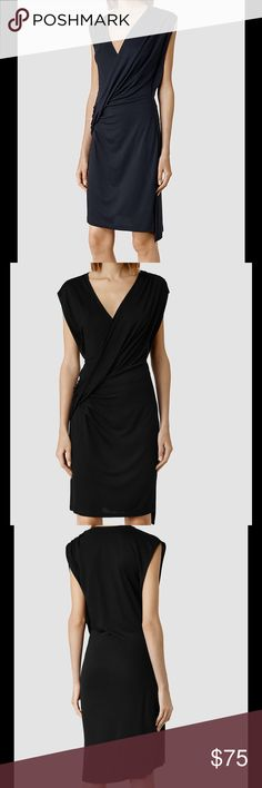 SALE TODAY ONLYALL SAINTS Black Dress Cross-over drape, gathered shoulders, side split detail, raw edges, above the knee. Loose fitting. 100% viscose. Delicate wash. Handwash inside out- Dry Flat - not in direct sunlight. All Saints Dresses
