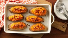 Stuff the skins with seasoned sweet potato filling ahead of time and bake just before dinner.  Saving time never tasted so good.