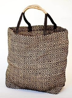 Big enough for stuff - Large Jute Shopper Tote (Black Diamond) 8d6d6d029d